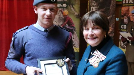Cadet Warrant Officer Barnaby Long was made one of the Lord Lieutenants Cadets by Lady Euston at a c