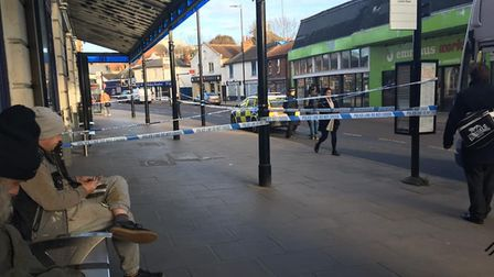 The police cordon in place in Colchester this morning following the death of a man. Picture: EMILY C