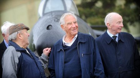 Air Commodore Roger Topp AFC (middle) stood by his restored Hawker Hunter Jet at Wattisham Airfield