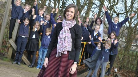 Headteacher of Bosmere Primary School, Liz Green, with children from the school. Picture: SARAH LUCY