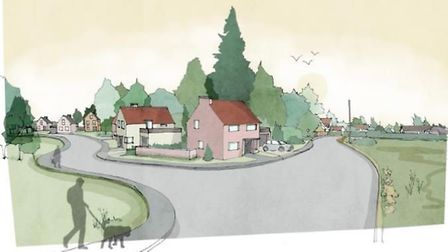 An artist's impression of what the homes on the former Bacton Middle School site could look like Pic