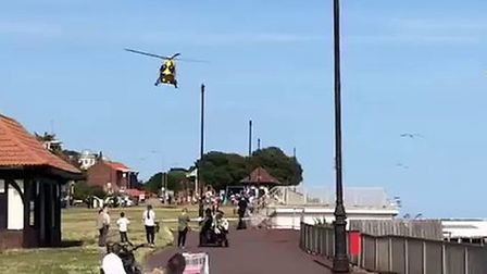 The air ambulance landing in Clacton last summer PICTURE: JAKE FOXFORD