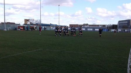 Woodbridge Town players celebrate their opening goal during the 6-3 win at Thetford. Picture: CARL M