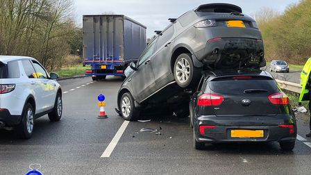 One lane of the A12 is closed after a crash involving five cars Picture: SUFFOLK POLICE