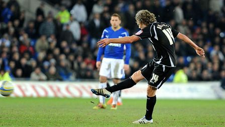 Jimmy Bullard fires home his second goal, in a 2-0 win at Cardiff City from nine years ago. Picture: