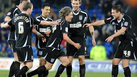 Jimmy Bullard sets off on a silly walk to celebrate one of his two goals at Cardiff City, in March,