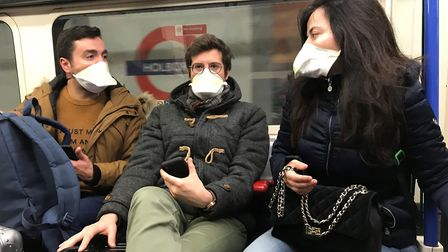 People wearing face masks on the London Underground Picture: Kirsty O'Connor/PA Wire
