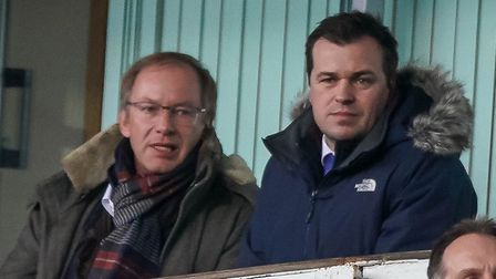 Ipswich Town general manager of football operations Lee O'Neill (right) and owner Marcus Evans watch