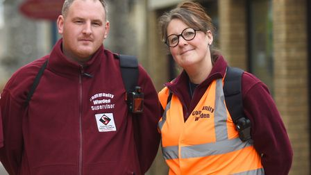 Sudbury town wardens Bradley Smith and Mel Edwards. Picture: GREGG BROWN