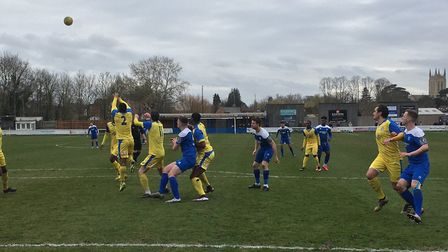 Another Bury Town cross is delivered into the box, during the first half against Hullbridge Sports t