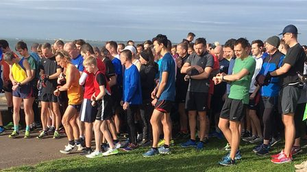 Runners and walkers congregate at the start-line for the second Chalkwell Beach parkrun, at Westclif