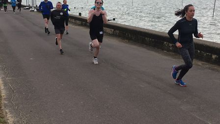 Runners approach the finish to last Saturday's Chalkwell Beach parkrun, along the promenade. Picture