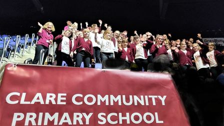 The pupils on stage at the O2 Arena taking part in the Young Voices Choir. Picture: CLARE COMMUNITY