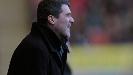 Town boss Roy Keane urges on his players, at Blackpool, during the 2-1 win in the FA Cup in January,