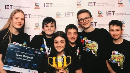 The First LEGO League team made up from East Bergholt Hgi hSchool and Suffolk One students. Picture: