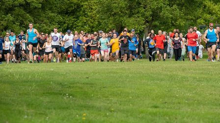 Runners at the start of the Dartford parkrun, in Central Park, Dartford. Picture: DARTFORD PARKRUN F