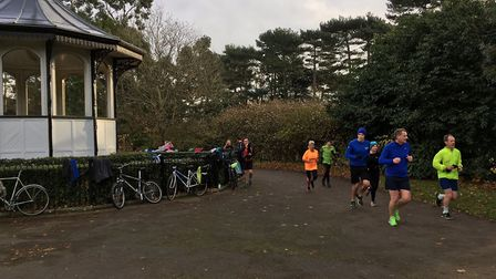 The bandstand is a major feature of the weekly Bedford parkrun, in Bedford Park