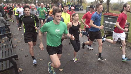 Runners in action at the Colchester Castle parkrun, which starts and finishes by the bandstand. Pict