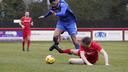 Lowestoft Town's Malachi Linton, who scored twice in a 5-0 win at Hadleigh United in the Suffolk Pre