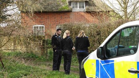 Police officers have been seen outside a property on the outskirts of Capel St Mary following the de