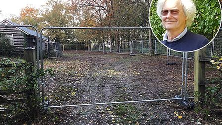 The fenced-off Melton bowling green and, inset, Christopher Hutton-Williams of the Melton Park CSA P