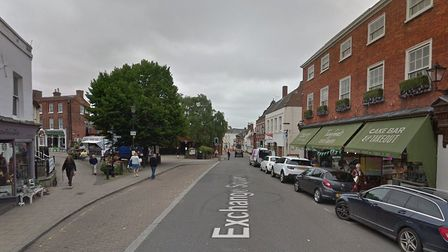 A car and a pedestrian have been involved in a collision in Exchange Square, Beccles. Picture: GOOGL