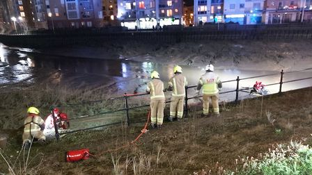 Emergency services worked to rescue the man from the river in Colchester. Picture: PCSO EMMA WRIGHT