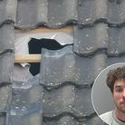 The hole Omar Parfett punched in the roof at the house in Boughton Way Picture: SIMON BENDALL/SUFFOL
