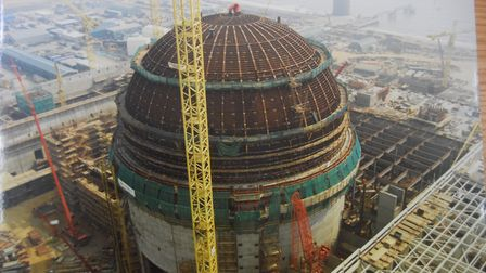 Sizewell B nuclear power station during its construction in the early 1990s. Pictured is the nuclear