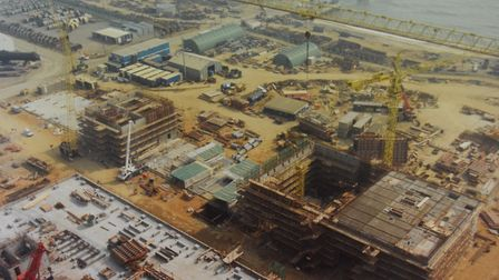 Sizewell B nuclear power station during its construction in the early 1990s. Picture: SIZEWELL B NUC