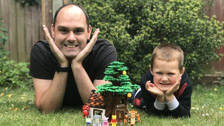 Ben Alder and son Joshua who have made the Winnie the Pooh structure they are hoping to be made by L