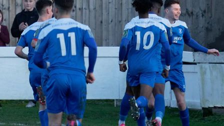 Joe Hood (right) celebrates with his Bury Town team-mates after scoring the equaliser in last weeken