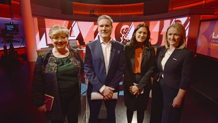 Emily Thornberry, Sir Kier Starmer, Lisa Nandy and Rebecca Long-Bailey before the Newsnight Labour l