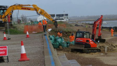 Repairs to Felixtowe Ferry beach ahead of Storm Dennis Picture: VICTORIA LISTER