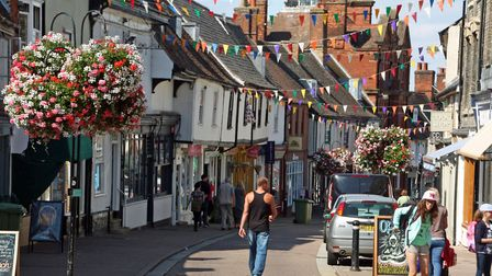 St John's Street in Bury St Edmunds, where businesses are being consulted about banning traffic on S