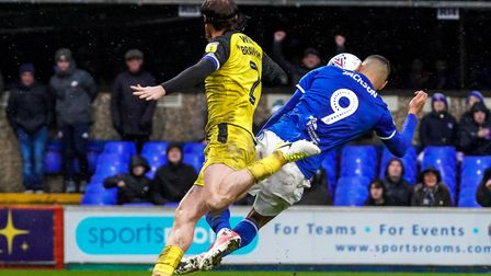 Kayden Jackson heads in his second and Towns third in the victory over Burton Albion. Picture Stev