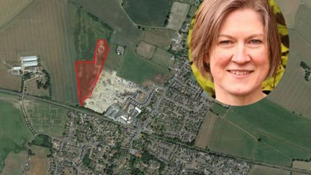 Plans for 65 homes in Elmswell have been rejected - Dr Helen Geake, inset. Picture: ARCHANT/GOOGLEMA