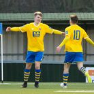 AFC Sudbury's Freddie King ,left, who fired home a late equaliser in Saturday's 3-3 draw against Ave