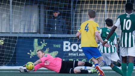 AFC Sudbury keeper Paul Walker, who saved a late penalty in a 3-3 draw against Aveley. Picture: PAU