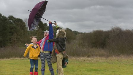 Thomas Howard, Milly Howard, Ruben and Leo Sedley having fun in Storm Dennis Picture: SARAH LUCY BR