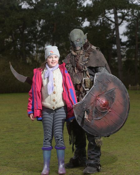 Milly Howard meeting an Orc at the Ring Quest event at West Stow Anglo Saxon village Picture: SAR