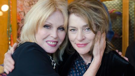 Diana Quick with Joanna Lumley at the Aldeburgh Documentary Festival. Photo: Nick Tipping Photograph