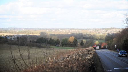 View over Sudbury showing the area that could be used for the bypass. Picture: GREGG BROWN