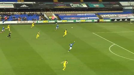 Will Keane runs through the middle, calling for Kayden Jackson to square early on. Photo: Wyscout