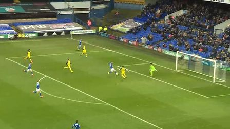 ...But his first touch sees the ball pop up and allow Reece Hutchinson to block the shot. Photo: Wys