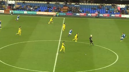 Will Keane (far right) receives Luke Garbutt's (top left) pass on the half-turn. Photo: Wyscout