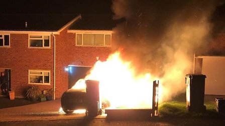Dramatic picture captures car on fire in Halstead. Picture: ESSEX COUNTY FIRE AND RESCUE SERVICE