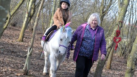 Julie Harbey leading Eric the unicorn through the forest Picture: SARAH LUCY BROWN