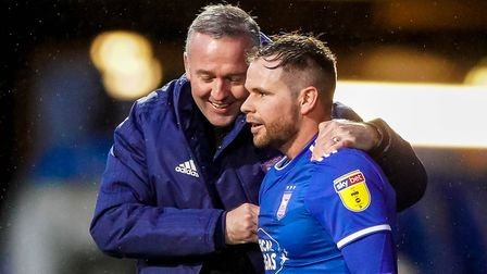 Town manager Paul Lambert and Alan Judge share a joke following Town's victory over Burton. Picture