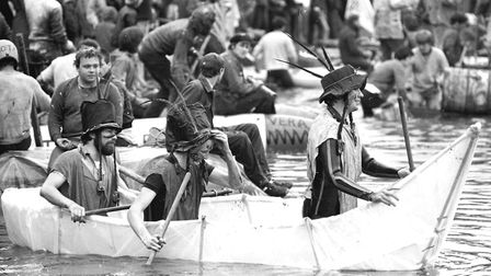 Intense action from the Thorpeness Raft Race in 1980 as teams competed in homemade craft on the wate